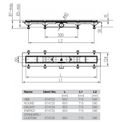 copy of Canaletta doccia a filo pavimento Custom 850mm Schwab